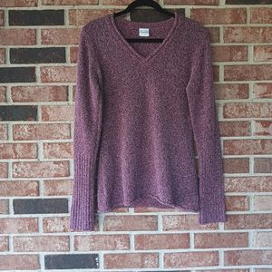 Columbia Red White Marled Knit V Neck Sweater M